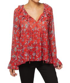 Edge up your inner bohemian with the V Neck Ruffle Blouse. This lightweight semi sheer woven top features all over print, V neckline with tassel and ruffle trim. Ruffle Top, Ruffle Blouse, Beautiful Blouses, Knitwear, V Neck, Trending Outfits, Clothes For Women, Tassel, How To Wear