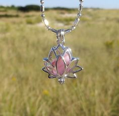 Pink Frosted Sea Glass Lotus Locket Necklace by Wave by WaveofLife