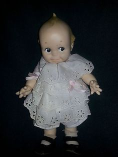 Cameo 1950's Kewpie Doll With White Eyelet Dress and Black Shoes-Vintage/Antique