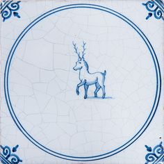 Animals In Circle Blue Glazed Ceramic Tiles 5x5 | Country Floors of America