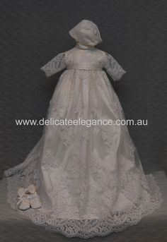 4264: Girls' White Lace Christening Gown