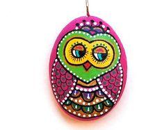 Hand Painted Stone OWL Pendant
