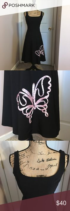 🦋 Butterfly Dress 🦋 Adorable black party dress with a pink butterfly and pink lace liner under the dress. A line cut. Speechless Dresses