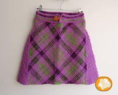 Lilac and green tartan skirt Loom Weaving, Hand Weaving, Tartan, Plaid, Lilac, Purple, Wool, Knitting, Stylish