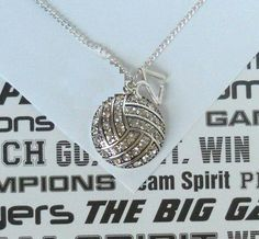 Volleyball Necklace with Rhinestones and Number, handmade jewelry. $22.50, via Etsy.