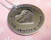 Anniversary Hand Stamped Necklace- Hand Stamped Jewelry