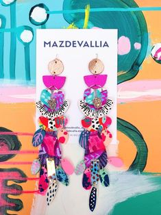 Diy Earrings, Polymer Clay Earrings, Statement Earrings, Leather Earrings, Polymer Clay Crafts, Diy Clay, Jewelry Crafts, Handmade Jewelry, Handmade Leather