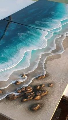 Resin Wall Art, Diy Resin Art, Resin Artwork, Diy Resin Crafts, Acrylic Pouring Art, Acrylic Art, Beach Art, Ocean Beach, Colour Match