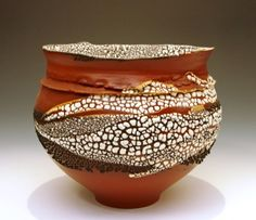 Altered Vessel with Collared Rim by Mary Fox. Mary used orange terra sigillata and crawl glazes on this super piece which was multi fired in oxidation. You can see more of her work at www.maryfoxpottery.ca