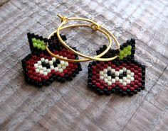 Hoop Earrings - Bloody Red Apples - Dark Red, Spring Green, Dark Brown, Eggshell, Black and 24ct Gold plated Sterling silver hoops on Etsy, 420,00kr