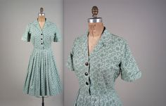 1950s cotton shirt dress  vintage 50s dress  by MintageClothingCo