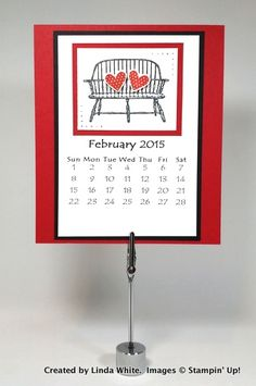 Create a handcrafted 12 month calendar and FREE PDF! Order Stampin' Up! products on-line. Mary Fish, Top 10 Independent Stampin' Up! February Calendar, 2015 Calendar, Calendar Printable, Calendar Ideas, February 2015, Valentine Calendar, Valentine Day Cards, Valentines, Perpetual Birthday Calendar