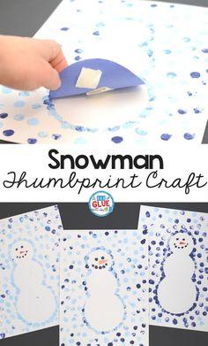 Create this Snowman Thumbprint Art in your kindergarten classroom as your next winter craft! It's a great fine motor snowman craft idea for kids. #snowmancraft #winterart