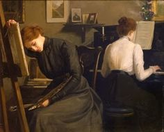 Pittrice e Pianista Lionello Balestrieri (Italian, The painter and pianist share space in a room but little else. The painter may be experiencing difficult times with the work in progress as her head is down and her brush has. Albert Bierstadt, Italian Painters, Classical Art, Romanticism, Renaissance Art, Aesthetic Art, Impressionism, Art History, Art Inspo