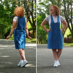 Thank you all so much for your enthusiasm for the York Pinafore! I am so excited to see Yorks already being made and I can't wait to see more. Cool Patterns, Sewing Patterns, Her Cut, Plaid Fabric, Weekend Style, Facon, Sewing Clothes, Different Fabrics, Long Sleeve Tees