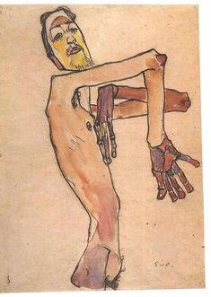 """Egon Schiele """"Osen mit überkreuzten Händen"""" / """"Mime van Osen with crossed arms"""" Egon Schiele Tattoo, Dessins Egon Schiele, Egon Schiele Drawings, History Channel, Egon Schiele Zeichnungen, Inspiration Artistique, Book Sculpture, Art For Art Sake, Elements Of Art"""