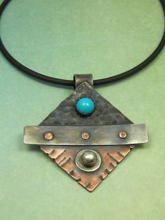 Mixed Metal Turquoise Riveted Dark and Light Pendant | Flickr