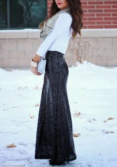 How to Chic: BLACK SEQUIN MAXI SKIRT