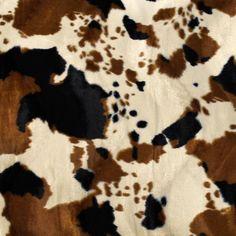 Brown Tan Cow Velboa Faux Fur