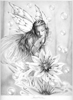 .black and white fairy art