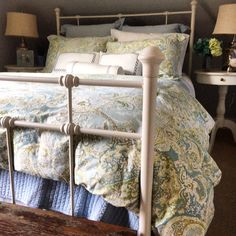 pottery barn bedding. blue and green bedroom