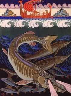 Pike, by Ivan Bilibin russian folklore illustration early 20th C.