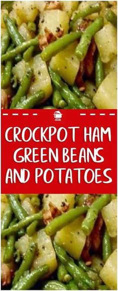 Crockpot Ham, Green Beans and Potatoes 2 lbs of fresh green beans 2 lbs of ham 4 baking potatoes 1 small onion Dice the ham, onion and potatoes. Put everything in the crockpot along with 3 cups of water and season to taste with pepper. Put on low for abou Crockpot Dishes, Crock Pot Slow Cooker, Crock Pot Cooking, Crock Pot Ham, Crockpot Veggies, Crockpot Ham And Beans, Cooking Tips, Potato Recipes Crockpot, Crockpot Ham Recipe
