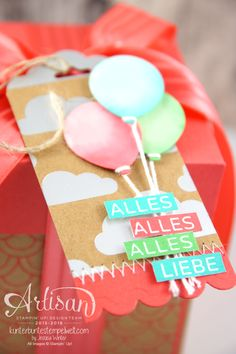 Tag made with Shine On Designer Series paper, Ballon Bouquet Punch and amazing Birthday stamp set- Jessica Winter