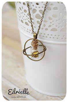 Interestellar bottle necklace, stars necklace, glass bottle necklace, whismical jewellery. Star pendant