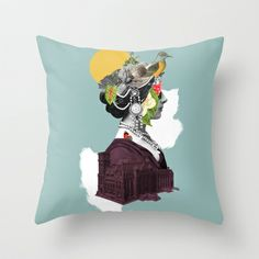Lady Portrait Throw Pillow by collagevallente - $20.00
