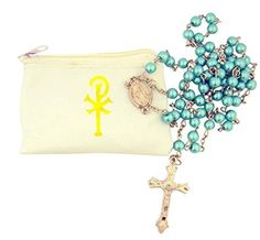 Catholic Gift White My Rosary Zippered Pouch Case with Stamped Gold Celtic Cross Design