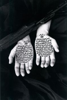 Shirin Neshat, Stories of Martyrdom, 1994 - B RC print and ink (photo by Cynthia Preston). Persian Calligraphy, Islamic Calligraphy, Calligraphy Art, Shirin Neshat, Preston, Kreative Portraits, Iranian Art, Feminist Art, Graphic Design Typography