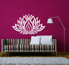 Wall Decals Lotus Flower Vinyl Sticker Decal Art Home Decor Mural Mandala Ornament Indian Geometric Moroccan Pattern Yoga Namaste Om AN377