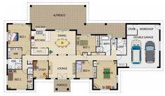 planos de casas de 4 dormitorios en una planta - Buscar con Google