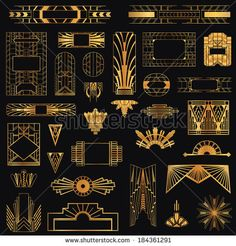 Art Deco Vintage Frames and Design Elements - in vector - stock vector