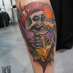 Guzzlin' Spooky Skeleton tattoo by @siemor_ntc at Nico Tattoo Crew in Athens Greece #siemorntc #eugeniossimopoulos #nicotattoocrew #nicotattoocrewathens #athens #greece #skeletontattoo #spooky #traditionaltattoo #tattoo #tattoos #tattoosnob