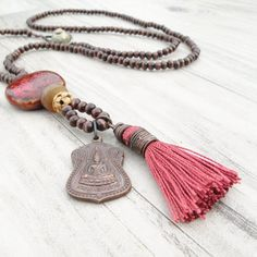 Long Buddha Tassel Necklace, Dark Brown Wood Beads, Russet Red Tassel, Pendant Cluster