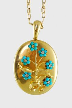 Antique Victorian 15k Locket with Turquoise and Diamond Flowers
