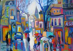 Rain in the City. African Paintings, South African Artists, Africa Art, Colorful Paintings, Naive Art, People Art, City Art, Pretty Art, Cityscapes