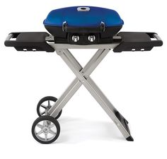 Napoleon TravelQ Liquid Propane Gas Grill up to 12,000 BTU's with a 285 sq in. Cooking Area and Dual Stainless Steel Burners TQ285BL at appliancesconnection.com. This portable grill by Napoleon maximizes space with its compact size and comes loaded with features such as JETFIRE Ignition, Porcelainized Cast Iron WAVE™ Cooking Grids. #grills #portable #blue #handy #fancy #musthave