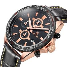 MEGIR 3001 Water Resistance Men Japan Quartz Watch with Genuine Leather Strap-23.13 Online Shopping| GearBest.com