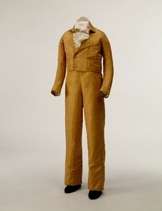 Boy's yellow silk taffeta suit, probably French, c. 1805.