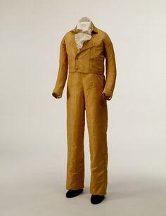Boy's yellow silk taffeta suit, probably French, c. 1805.