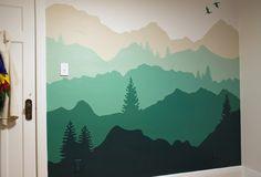 17 ideas wall painting kids room green for 2019 Kids Room Paint, Kids Room Wall Art, Kids Rooms, Mountain Mural, Mountain Bedroom, School Murals, Mural Art, Painting For Kids, Boy Room