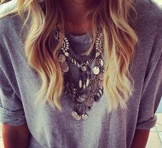 simple grey tee + statement necklace