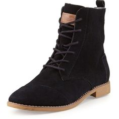 TOMS Alboot Suede Ankle Boot ($91) ❤ liked on Polyvore featuring shoes, boots, ankle booties, ankle boots, botas, sapatos, black, black lace up booties, black flat boots and black suede boots