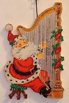 SANTA Playing GOLD HARP, HOLLY * Glittered CHRISTMAS ORNAMENT * Vtg Card Img