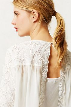 anthro parted lace top