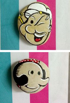 New Hand Painted Creative Folk Art Stone Popeye the Sailor Man For Gifts Collection(China (Mainland))