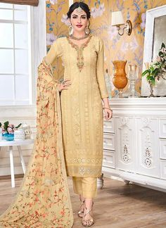 Yellow Embroidered Straight Pant Suit Yellow Embroidered Straight Pant Suit features a faux georgette top with embroidery. Comes with dull santoon inner and bottom with faux georgette embroidered dupatta. Wedding Salwar Suits, Salwar Suits Pakistani, Salwar Suits Party Wear, Churidar Suits, Pakistani Bridal Dresses, Party Wear Dresses, Salwar Kameez, Chikankari Suits, Punjabi Suits